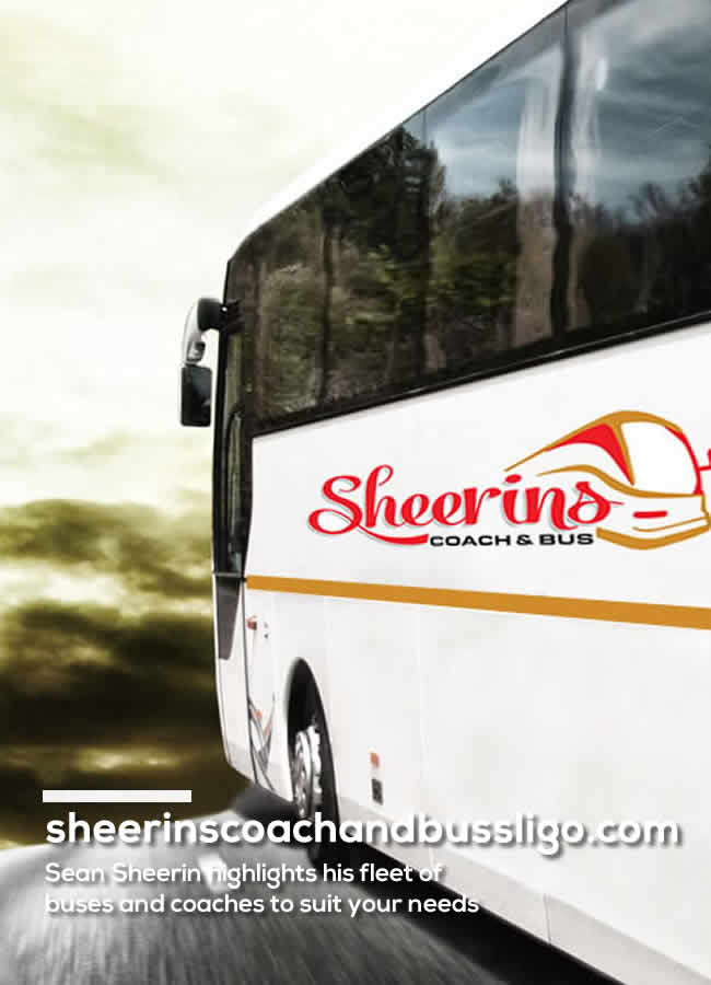 Sheerins Coach on road travelling