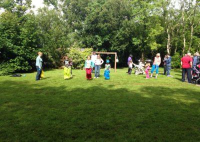 Sack race in Benwiskin Centre gardens