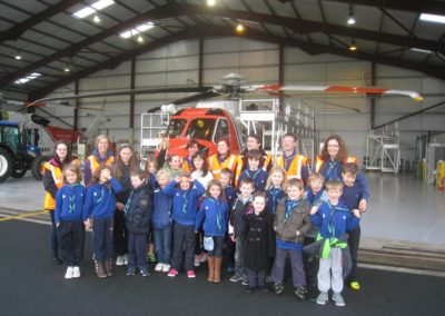 Beaver Scouts in front of helicopter getting talk at Strandhill
