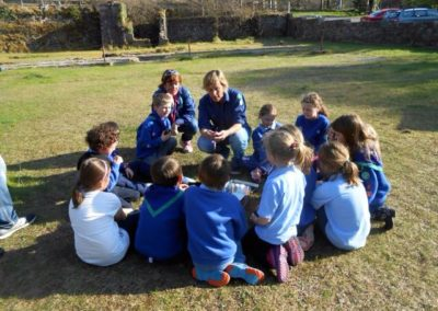 Scout Leader Lisa Lomax teaching Beavers how to light a fire at Millsite Ballintrillick