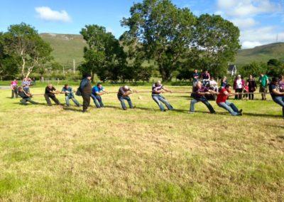 Tug of war in field Ballintrillick